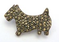 Vintage Dainty Sterling Silver And Marcasite Scottie Dog Brooch.